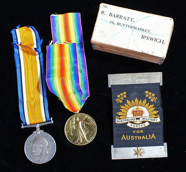 Australian First World War casualty group, to include the Victory medal and