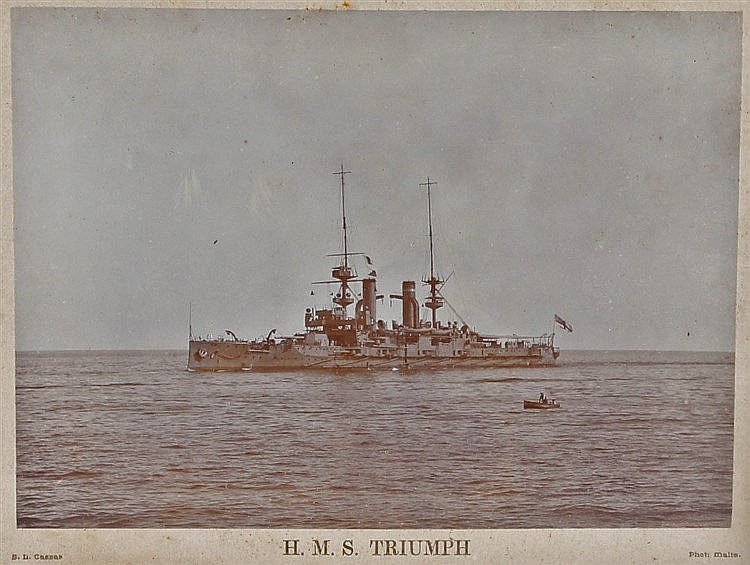 Photograph of H.M.S. Triumph, by S.L. Cassar, photographed in Malta, housed
