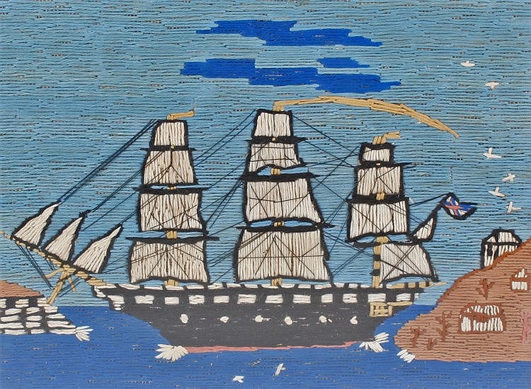 19th Century woolwork picture, of a ship at sea near an island and fort, ho