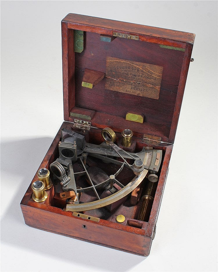 19th Century sextant, Crichton Bro, London, the 160 degree scale with swing