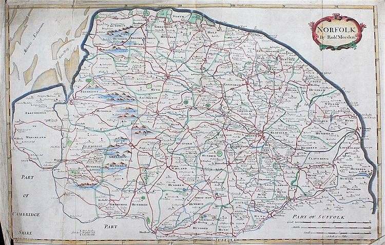 Robert Morden, 18th Century map Norfolk, hand coloured, 56cm x 38cm