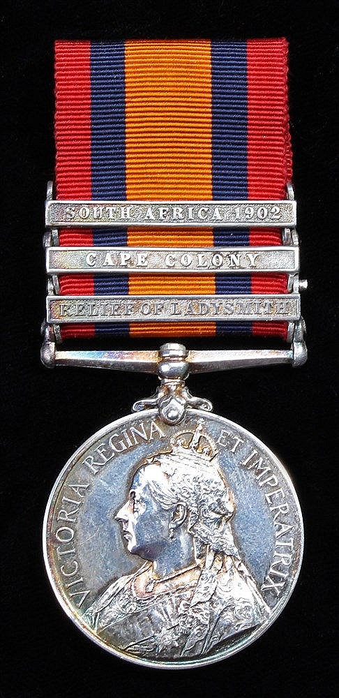 Queens South Africa Medal, 1899-1902, three clasps Relief Ladysmith, Cape C
