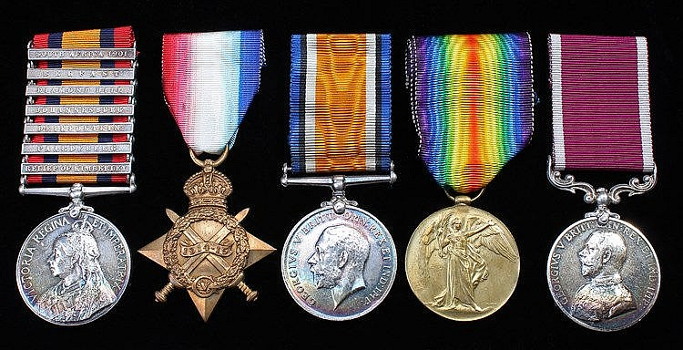 Group of Five, Queen South Africa seven clasps South Africa 1901, Belfast,