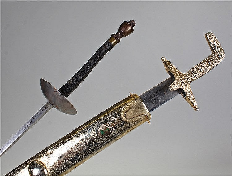 Saudi Arabian presentation sword, in gilt metal with enamel Saudi Arabian c