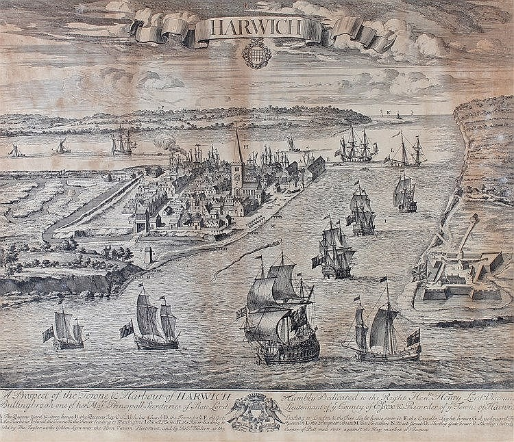 A Prospect of the Towne & Harbour of Harwich, engraving, 63cm x 52cm