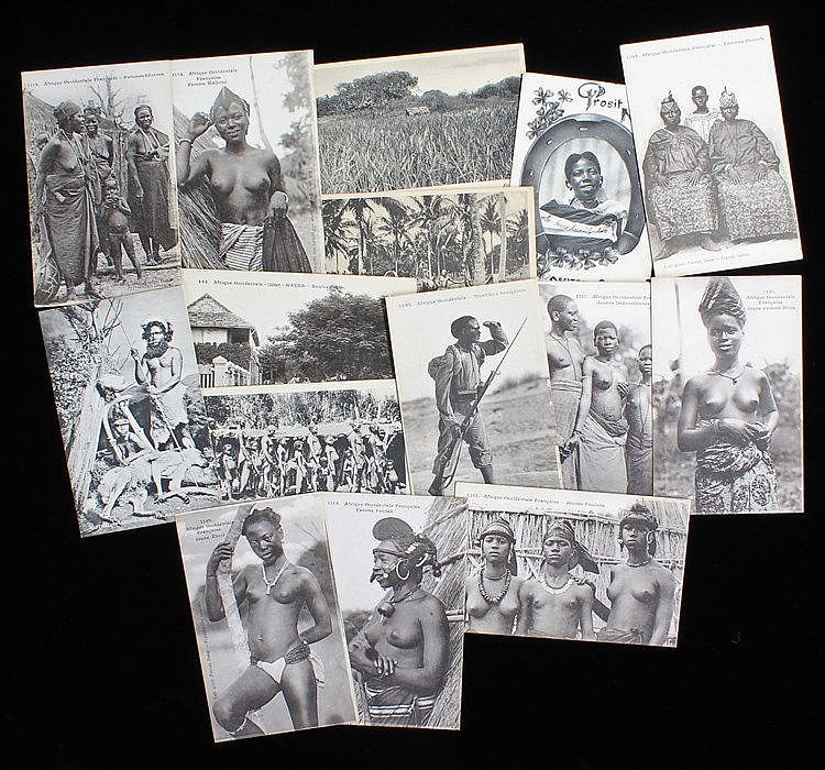 Quantity of vintage postcards, showing scenes of  daily life in