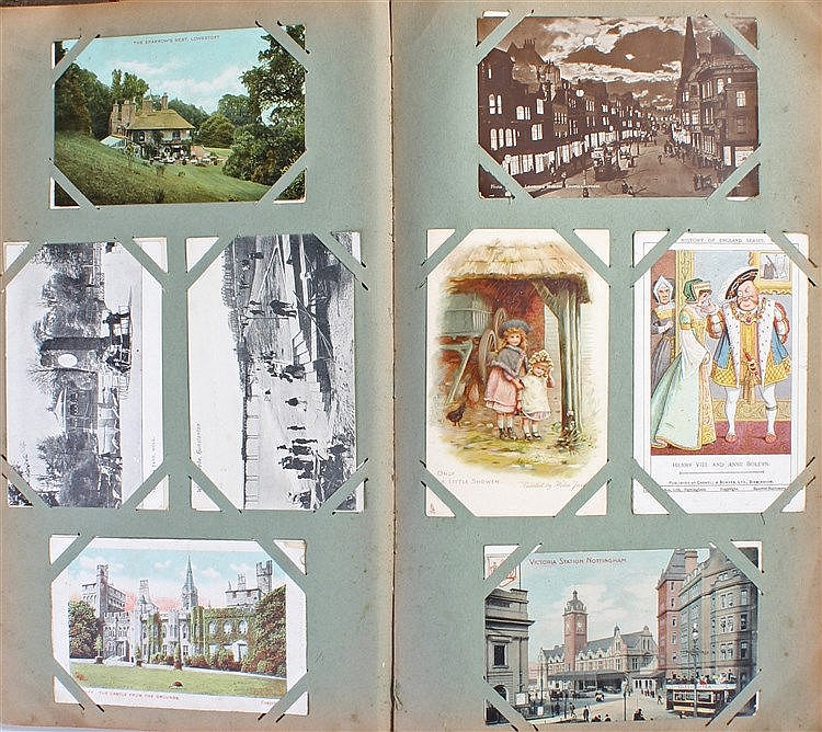 Postcard album, to include military interest, soldiers, ships, Wrights Bipl