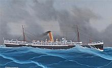 Early 20th gouache painting,  RMS Orontes, the steam ship at sea, titled to