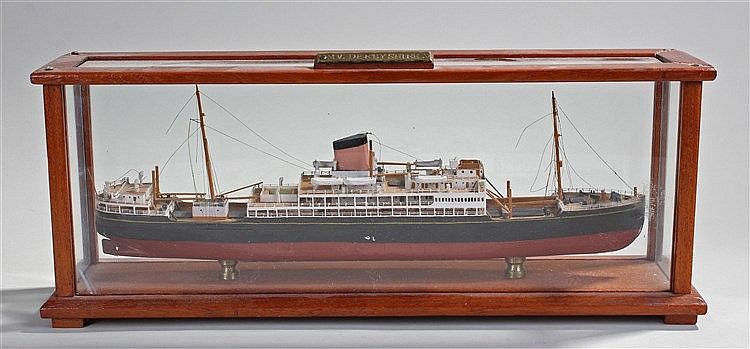 Ships model, of the M.V. Derbyshire, the black and red painted ship housed