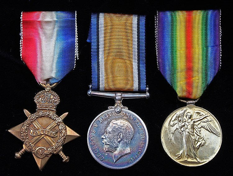 First World War trio, 1914-15 Star, British War Medal and Victory Medal (21
