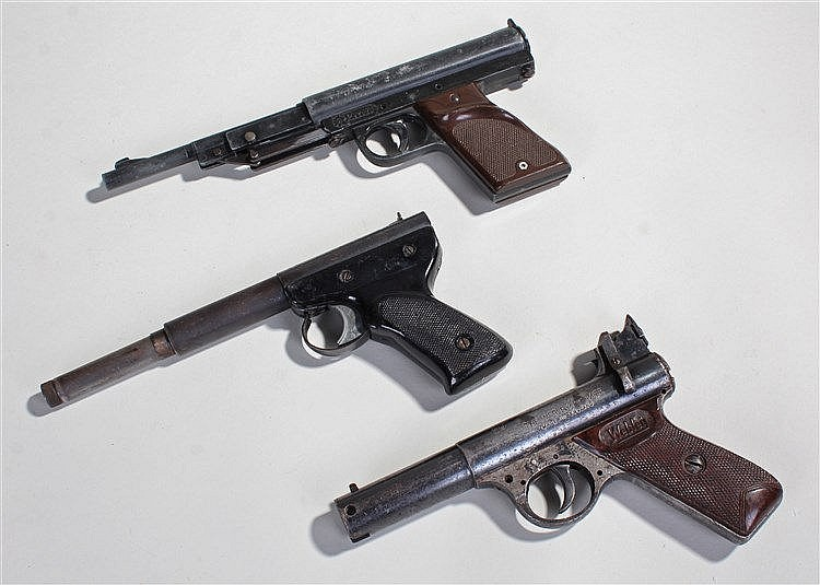 Three air pistols, to include a Webley Premier, a FB Record and a Diana Mod