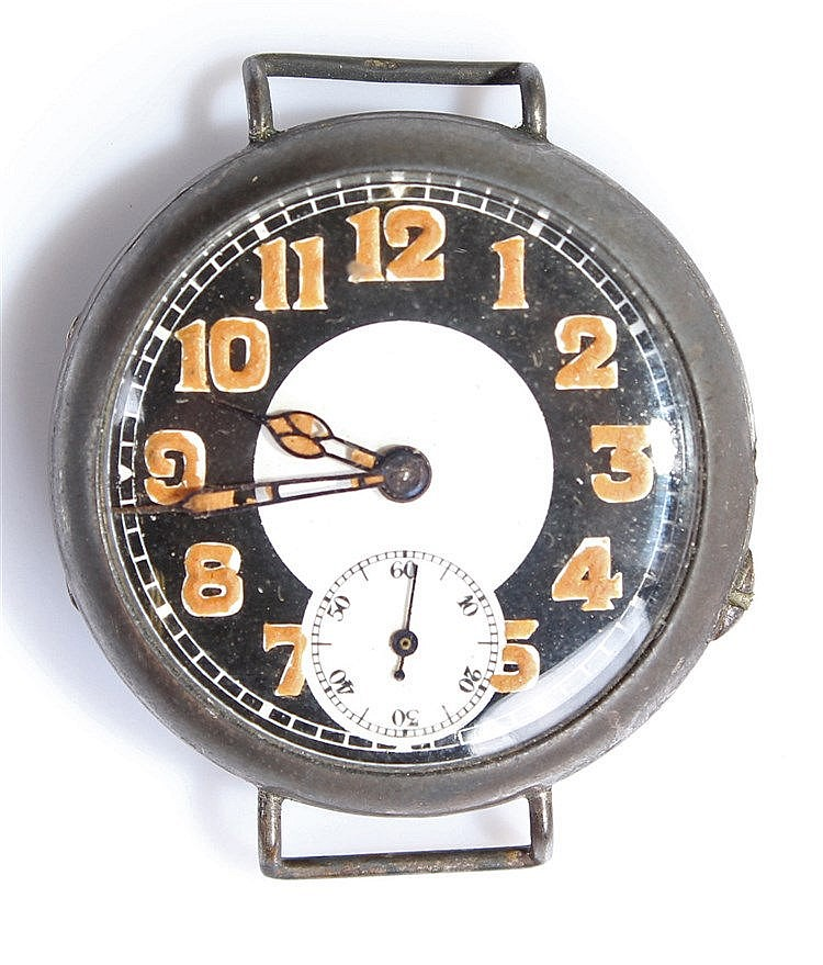 Circa 1915 silver Trench watch, the 'licorice dial' with luminous Arabic ho