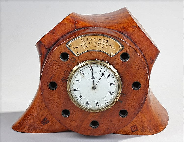 First World War propeller clock, the clock with a brass plaque stating 'Mes
