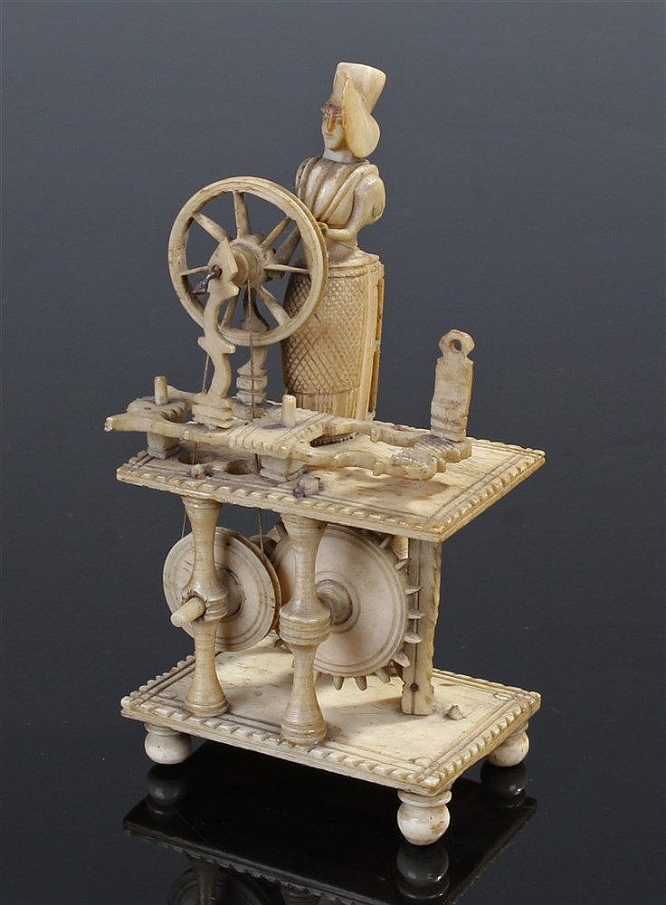 Napoleonic French Prisoner of War carved bone spinning jenny, circa 1815, t