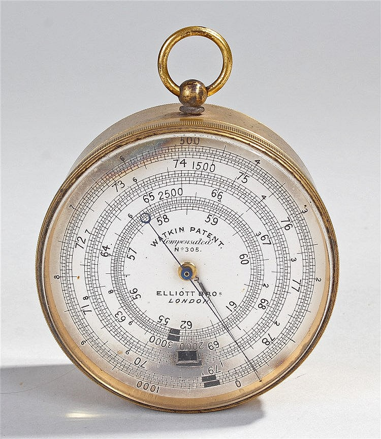 Watkin Patent gilt brass surveying aneriod barometer, the silvered dial wit
