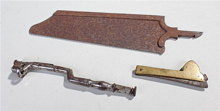 19th Century medical equipment, to include a toothkey, surgical saw blade a