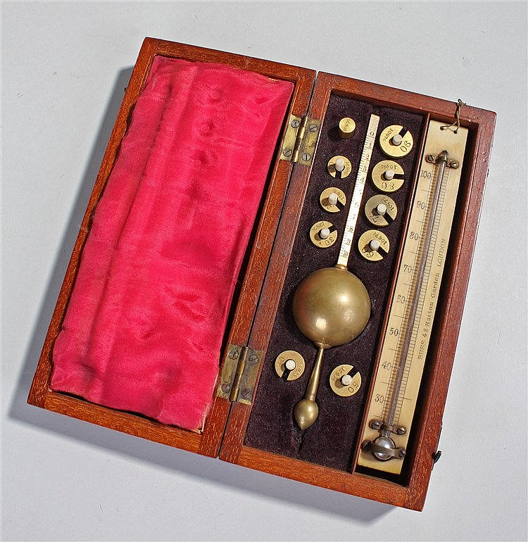 Sykes hydrometer, the cased set with a named thermometer Buss 48 Hatton Gar