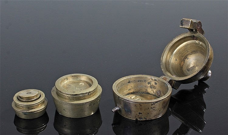 Rare set of 18th Century Russian nested weights, surmounted by a finial abo
