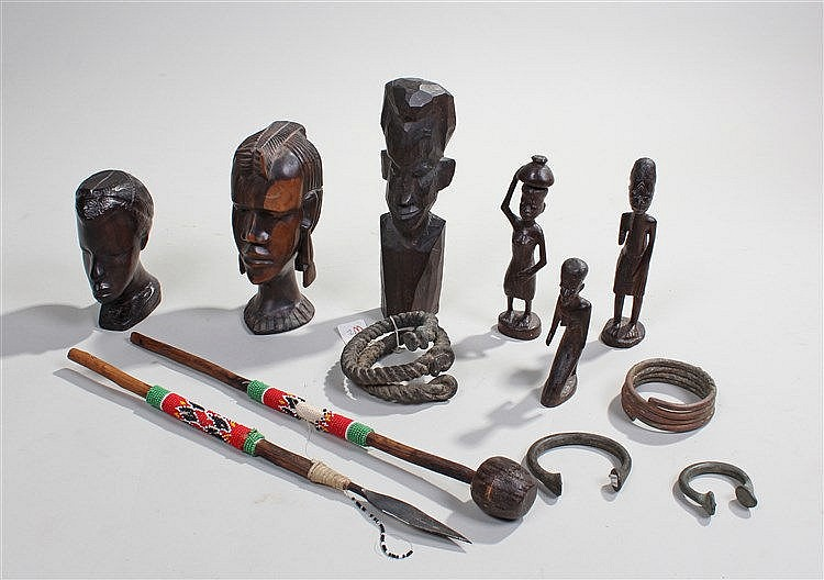 Mixed tribal art, to include carved figures, bead miniature spears, and car