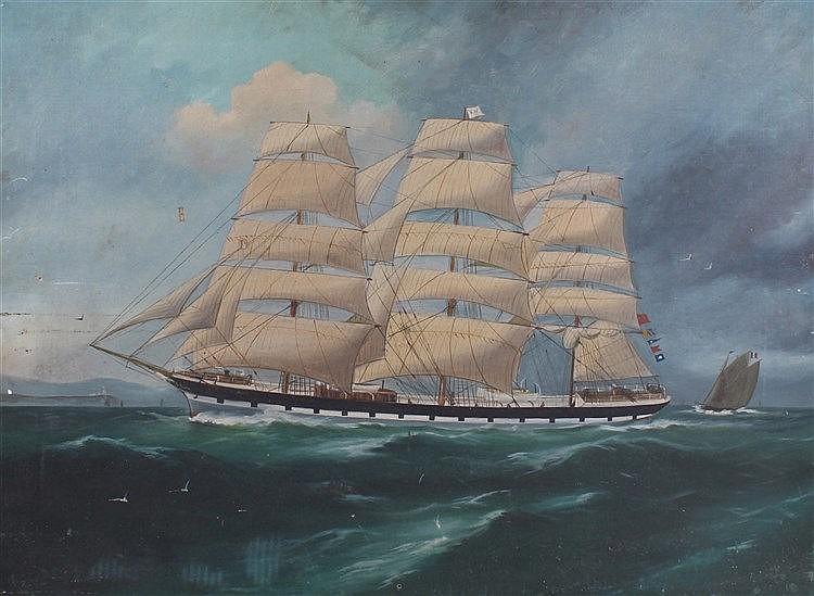 19th Century English School; The Schooner Kilmory, the schooner on the coas