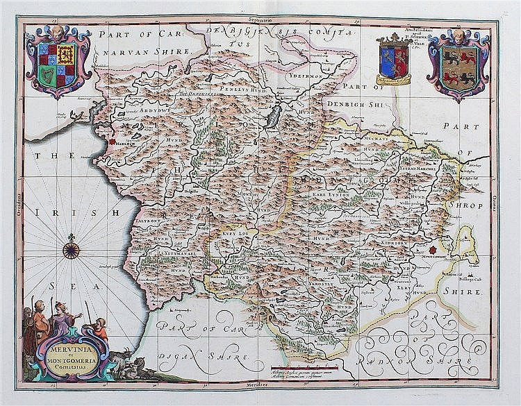 Willem Blaeu, 1650, Mervinia et Montgomeria Comitatus, hand coloured map, 4