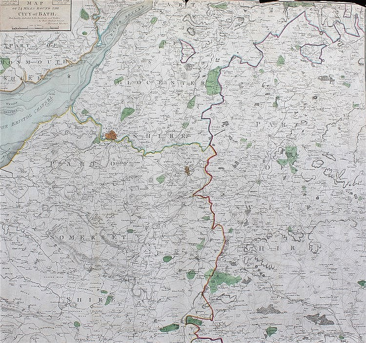 Charles Harcourt, Map of 24 Miles round the City of Bath, hand coloured, 60