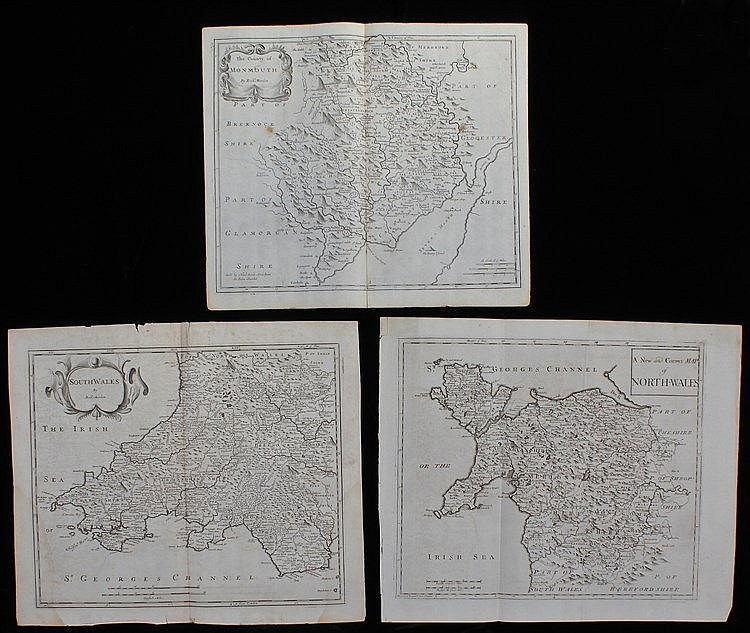Robert Morden, late 17th Century, three maps, South Wales, North Wales and