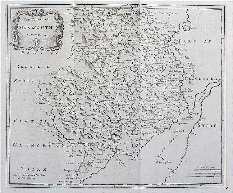 Robert Morden, 1695, The County of Monmouth, 42cm x 35cm