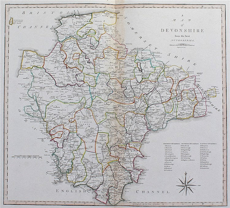 John Cary, 1805, A Map of Devonshire, 48cm x 42cm
