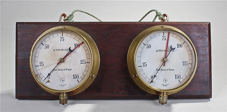 Ships dual altitude gauge, Stork trademark, mounted on a board