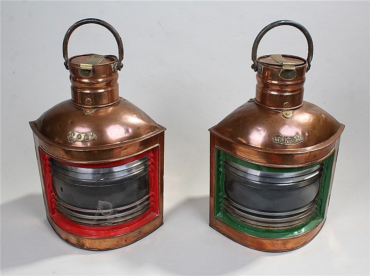 Pair of Port and Starboard ships mast head lamps, maker William McGeoch & C