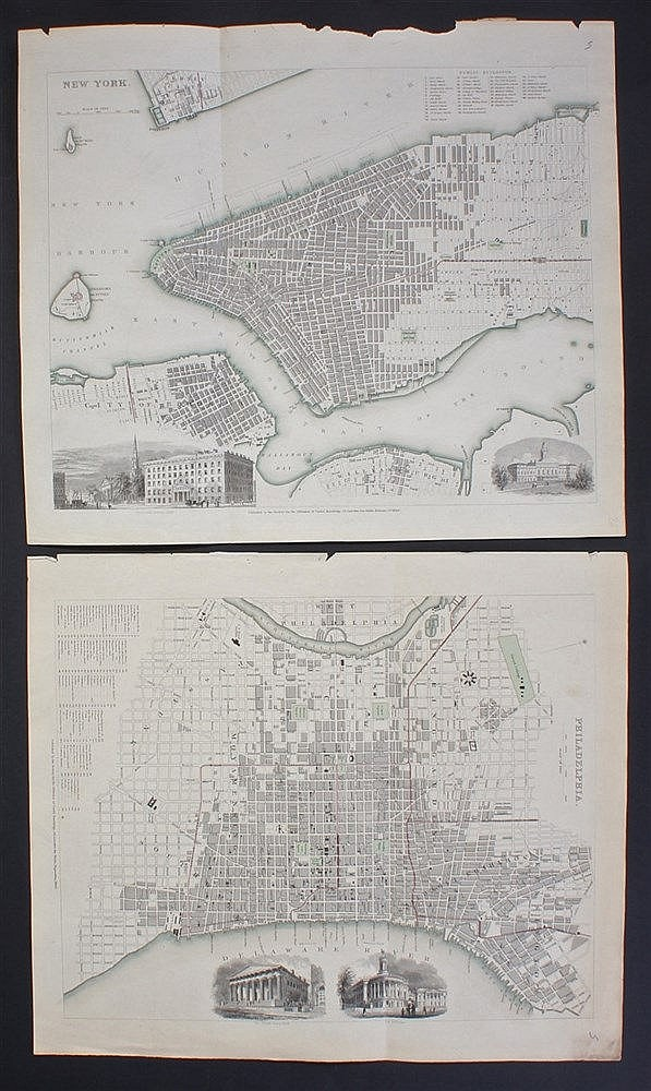 New York street map, 1840, with City Hall and Broadway printed to the corne