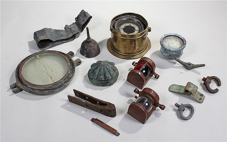 Maritime items, to include a compass, a lamp hood, a bucket rim from the sh