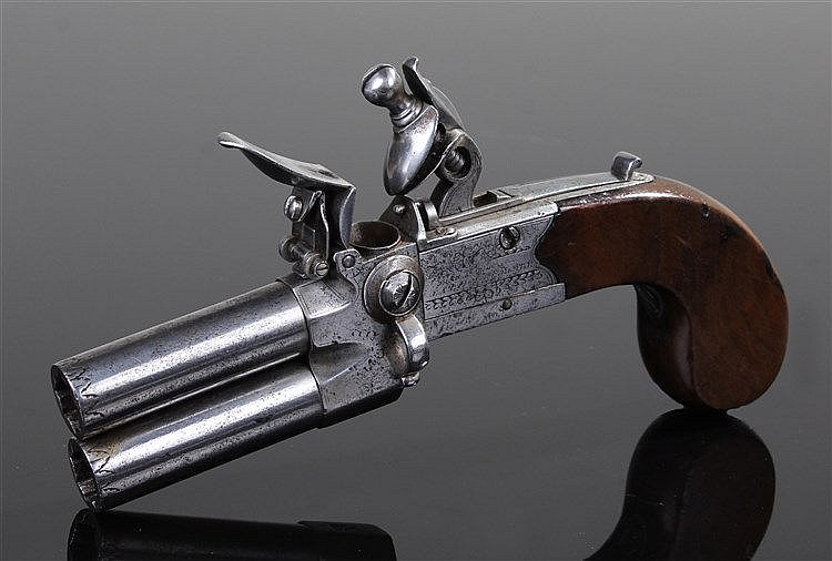 George III flintlock double barrel pistol, the steel double turn off barrel