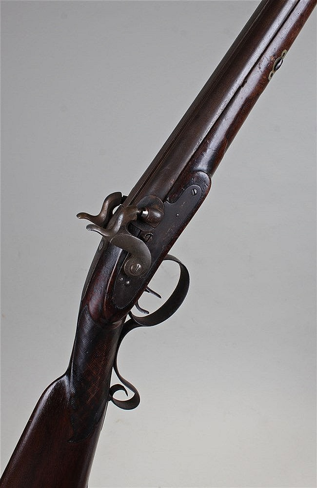 Victorian percussion double barrel shotgun, 20 bore, with dual percussion h