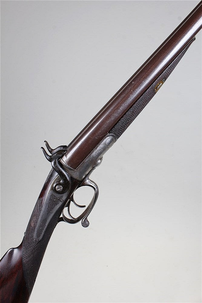 19th Century Westley & Richards 12 bore side by side muzzle loading gun, wi