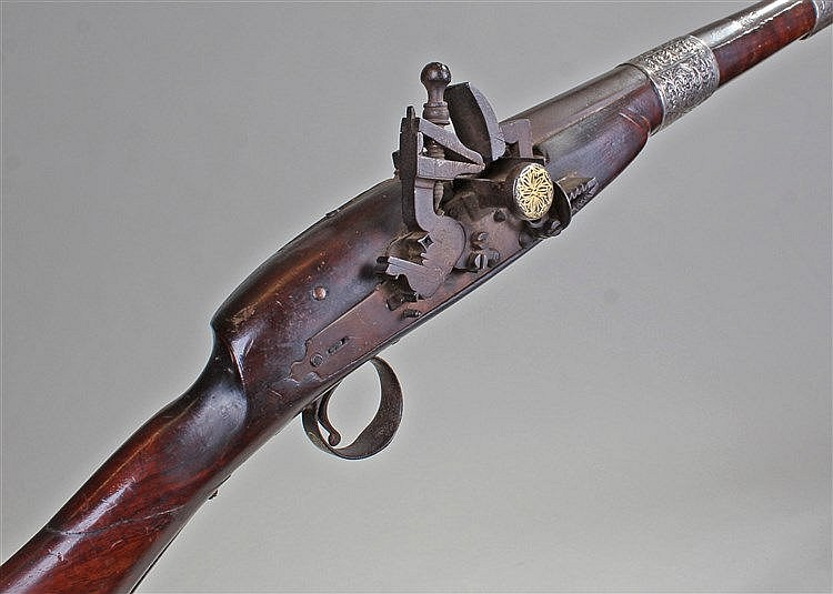 19th Century snaplock North African musket, with silver foliate bands to th