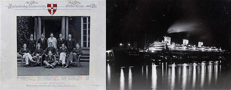 Framed photograph of Cambridge University Goldie crew, circa 1938, winners
