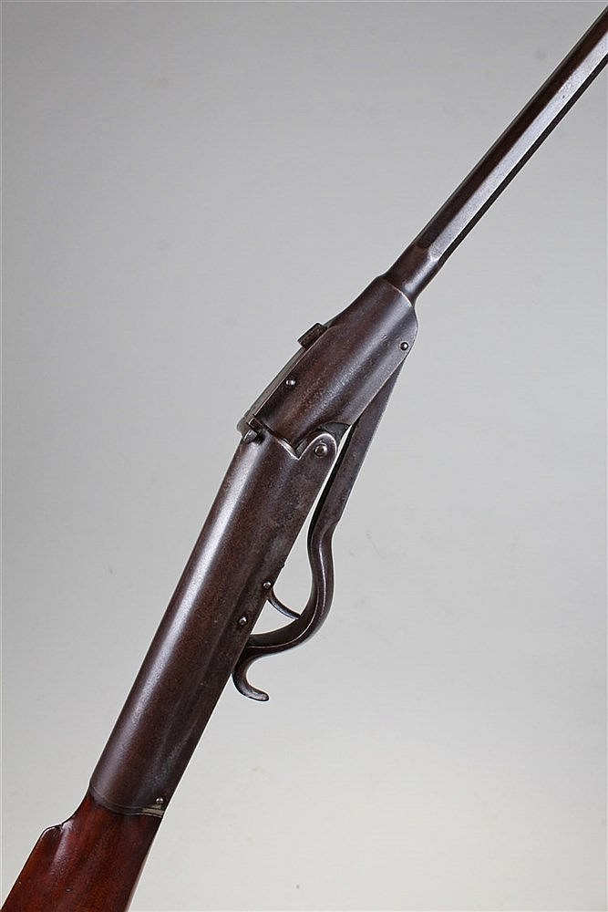 Victorian air rifle, dated 3.12.91, with a mahogany butt, steel barrel and