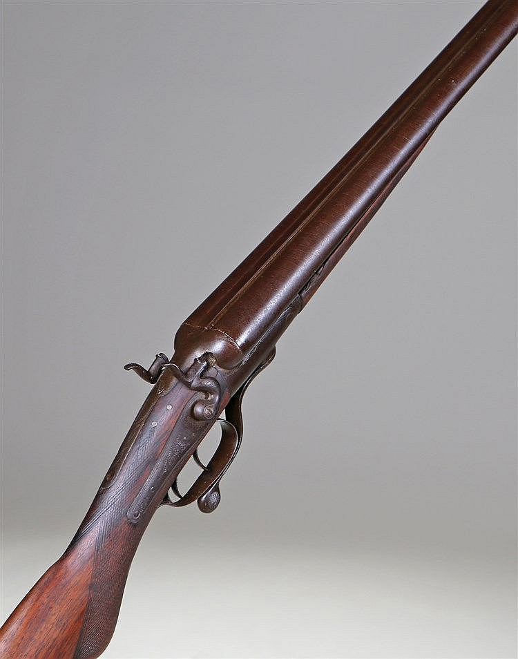 19th Century Hatton 12 bore double barrel shotgun, the twin hammers, steel
