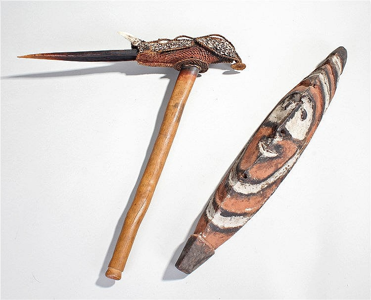 Papua New Guinea Sepik river mask and ceremonial axe, the mask of elongated