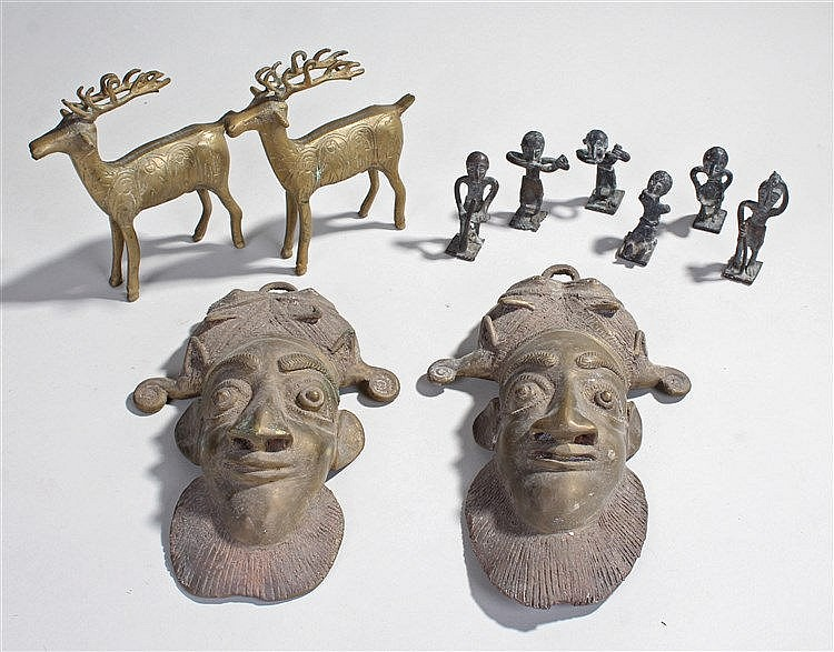 Asante Bronze weights, to include six of figural from, together with two br
