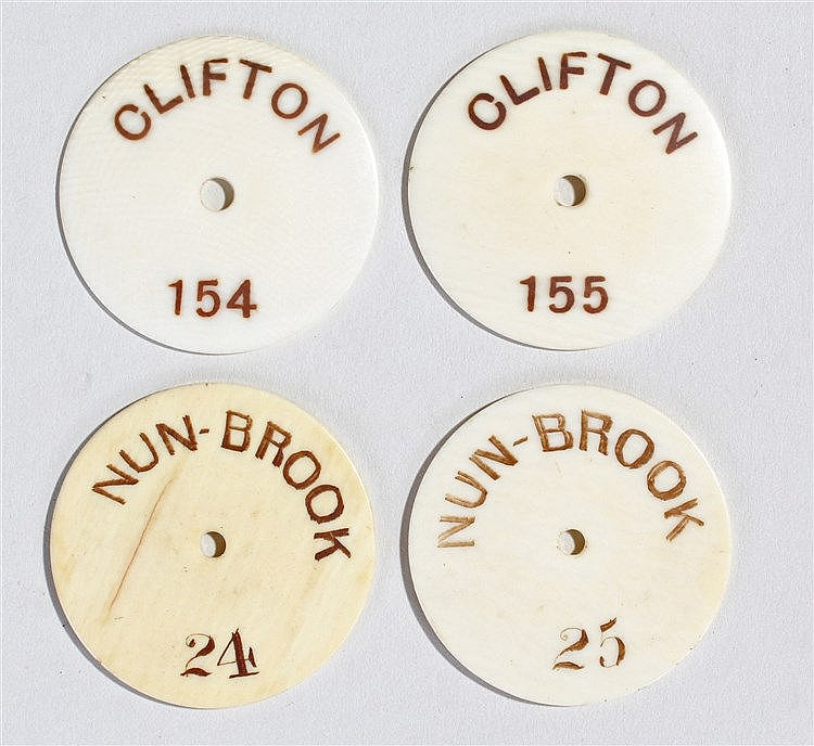 Clifton Suspension Bridge and Nun Brook interest, four disc tokens for pass