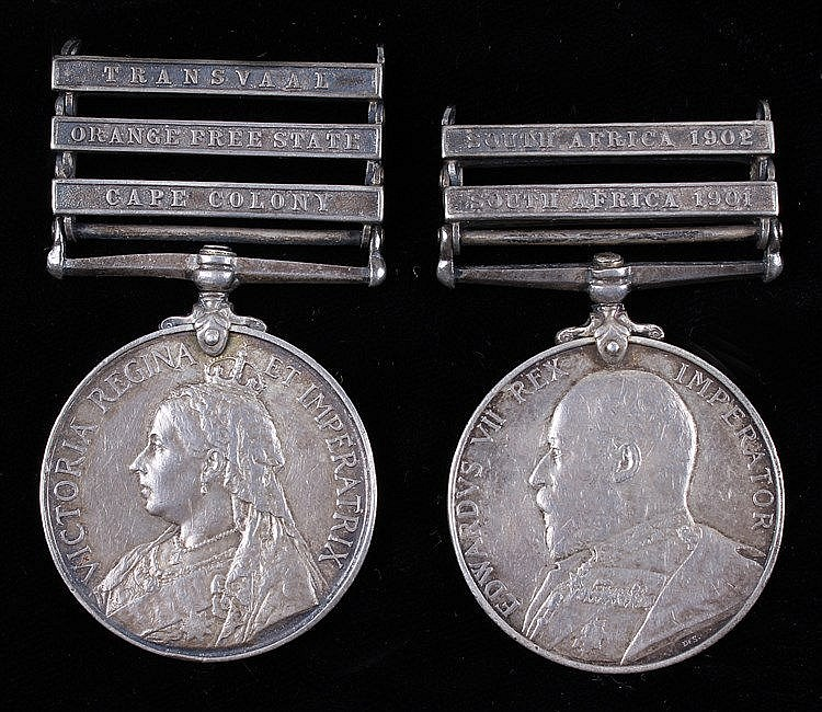 Boer War pair, Queens South Africa 1899-1902, clasps Cape Colony, Orange Fr