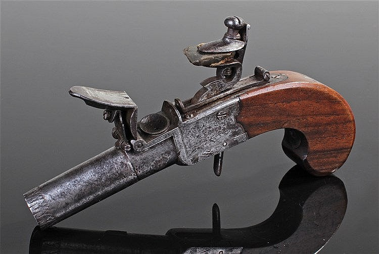 18th Century flintlock pistol, the box lock hammer with steel engraved barr