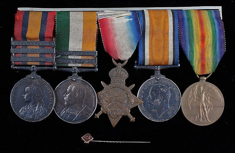 Group of five, to include Queen South Africa , clasps Cape Colony, Orange F