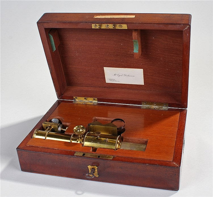 Victorian lacquered brass microspectroscope attachment, by John Browning, L