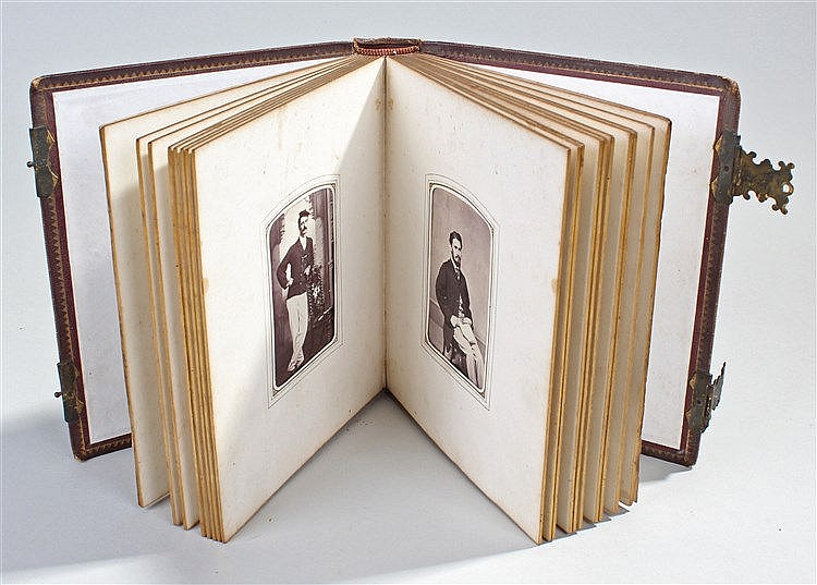 CDV photograph album, containing various pictures, some showing gentlemen i