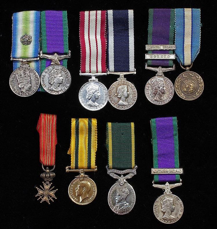 Miniature medals, General Service medals, UN medal, Naval Long Service meda