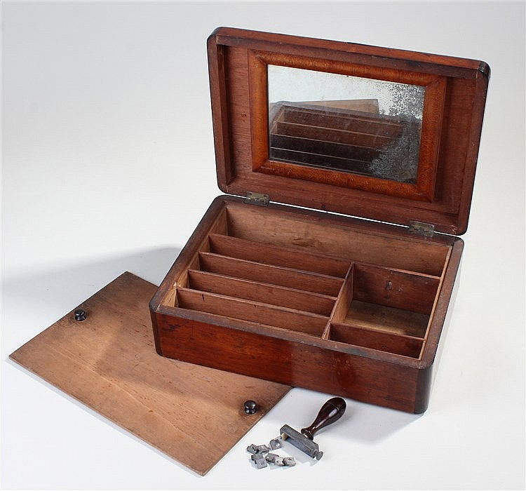 Victorian campaign box, the rectangular box with internal mirror, lift out